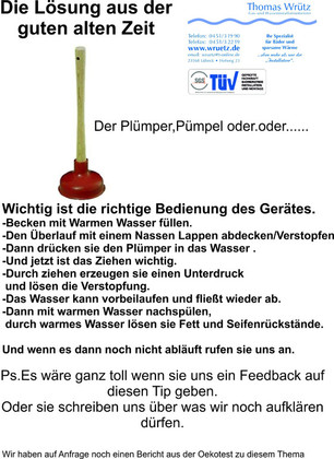Plümper,Anwendung;Rohrfrei;Verstopfung;Geruchverschluß